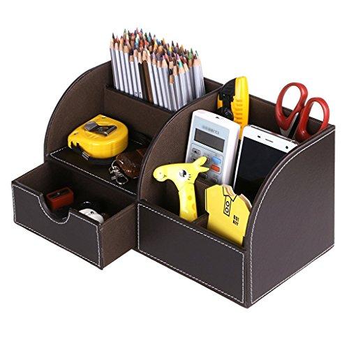 Organizador escritorio multifuncionalPortalápices piel PU 7compartimentos/caja de almacenaje soporte con un cajón almacenamiento tarjetero/teléfono portátil/papelería/grapadora/mando a distancia
