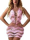 FasiCat Women's Mesh Lingerie for Women Fishnet Babydoll Mini Dress Free Size Bodysuit Lightpink 7