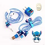 ZOEAST(TM) DIY Protectors Phone Ring ET Blue Apple Data Cable USB Charger Data Line Earphone Wire Saver Protector Compatible with iPhone 5 5S SE 6 6S 7 8 Plus X IPad iPod iWatch (Basic Styles, Stitch)