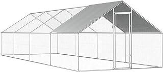 Goofly Outdoor Chicken Cage Walk-in Chicken Coop Rabbit Habitat Cage Galvanised Steel Hen Run House 2.75x8x2 m