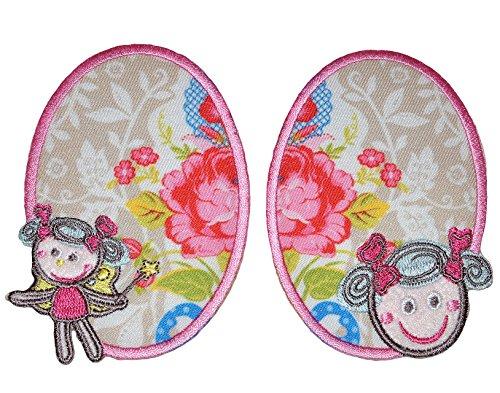 2 tlg. Set ovaler Flicken / Bügelbild - Fee und Prinzessin - 7,5 cm * 10 cm - oval - Bügelbilder - Aufnäher zum Bügeln und Aufnähen / Applikation für Mädchen Kinder