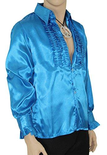 Foxxeo Blaues Rüschenhemd für Herren 70er Jahre Disco Hemd Fasching Karneval Motto-Party blau, Größe XL
