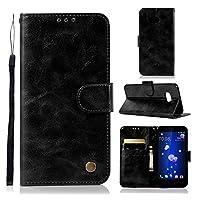 YXCY YD APOR HTC U11レトロな銅バックルクレイジーホース水平フリップPUレザーケースホルダー&カードスロット&財布&ストラップ (Color : Black)