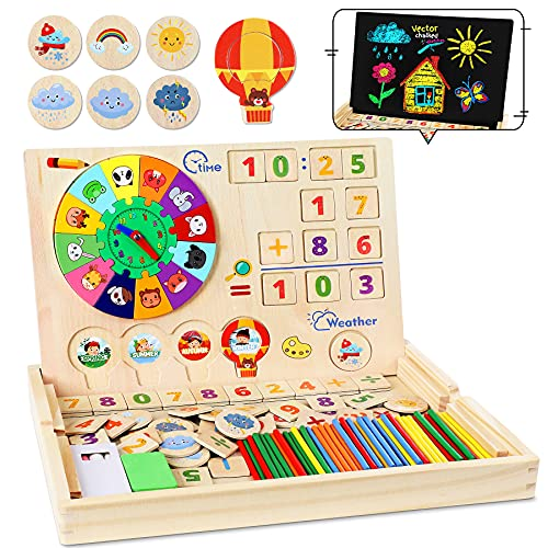 lenbest Juguetes de Madera Niños, Aprendizaje de Juguetes de Madera Magnética, Montessori Reloj Pintura Números Apilamiento Clasificación Matemática Aprendizaje, Niño Juguete Educativo 3 4 5 Años