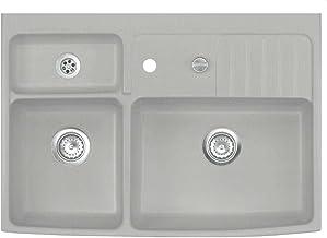 Systemceram Centra 90 Titan keramische gootsteen Excenterbediening grijs/mat spoelbak