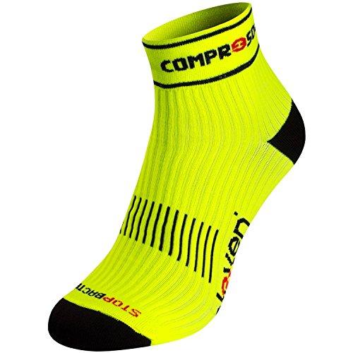 Eleven Luca Kompressionssocke | Kompressionssocken | Laufsocken | Compression Socks | Sportsocken | Damen | Herren zum Radfahren, Laufen, Triathlon, Running und Wandern (Neon gelb, XL (EU 46-48))