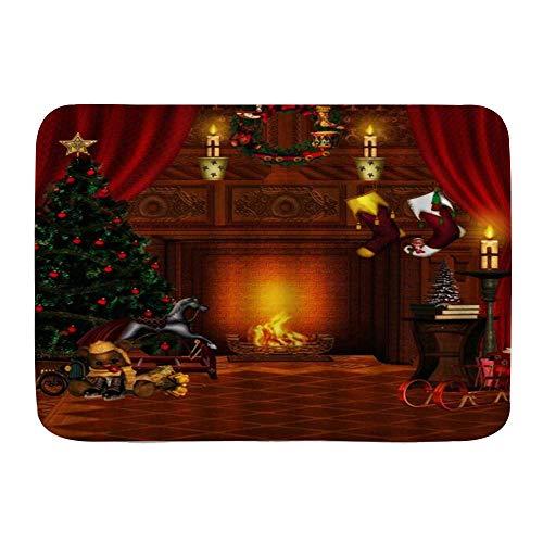 Fußmatten, Weihnachten Vintage Cottage Weihnachtsbaum Kamin Geschenke Socken, Küche Boden Bad Teppich Matte Saugfähig Innen Badezimmer Dekor Fußmatte rutschfest