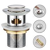 WOOHSE Válvula de desagüe universal con rebosadero, tapón de lavabo Click Clack G1 1/4'