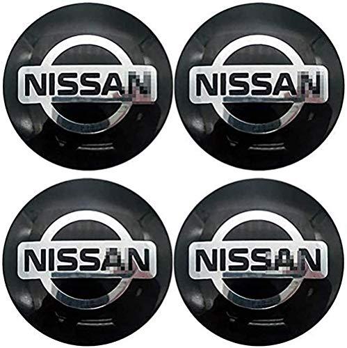 4 Piezas Tapas centrales, para Nissan Coche Central Llanta Rueda Cubre Embellecedor Insignia
