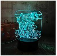 3Dイリュージョンナイトライト 狼 キッズおもちゃナイトライト3Dオプティカルイリュージョンナイトランプスマートタッチ+7色変更調光可能、誕生日プレゼント男の子クリスマス女の子