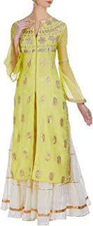 Indian Ethnic Ready to wear Daffodil Yellow Jewel Neckline Full Net Sleeve Long Split Kurti Sharara Suit Dupatta 108okh
