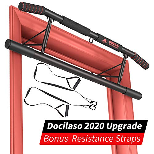 Docilaso Multi-Gym Chin-Up/Pull-Up Bar, Heavy Duty Doorway Trainer for Home Portable Gym No Need to Assemble - Angled Grip Help Protect Wrists