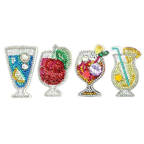 Matefield 4 Pack kristallen strass sleutelhangers DIY diamant schilderij fruit sap sleutelhanger sleutelhangers voor vrouwen meisjes tas handtas bedels hanger verjaardag kerstcadeau