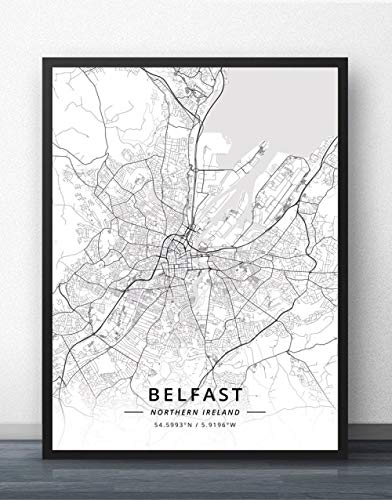 Prints Canvas,Northern Ireland Belfast City Map Simple Mural Art Black White Pop Poster Minimalist Painting Modular Office Living Personalised Culture Ink Space Decoration,80Cm X 110Cm/31.4 43.3 In