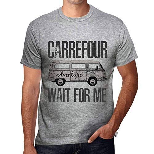 One in the City Hombre Camiseta Vintage T-Shirt Gráfico Carrefour Wait For Me Gris Moteado