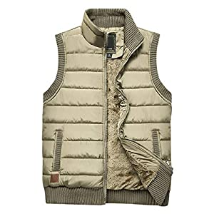 Men's Warm Outdoor Sleeveless Stand Collar Fleece Lined Vest Outwear