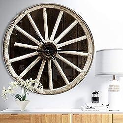 Design Art Designart 'Sepia Country Wagon Wheel Clock' Oversized Farmhouse Wall Clock 29 in. Wide x 29 in. high