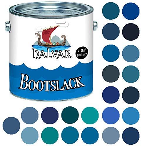 Halvar Bootslack Blau RAL 5000-5024 Yachtlack GLÄNZEND Bootsfarbe Yachtfarbe PU-verstärkt für Holz & Metall verstärkt extrem belastbar hochelastisch Schiffslackierung (1 L, RAL 5007 Brillantblau)