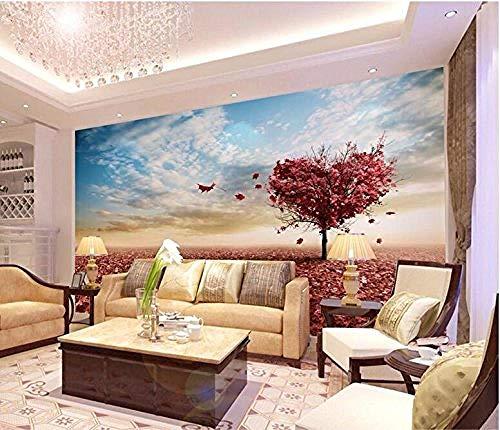 FSKJBZ Papier Peint Photo Personnalisé 3D Stéréo Grandes Peintures Murales Arbre d'Amour Érable Salon Rouge Canapé Chambre Papier Peint Murale @ 300cmx210cm