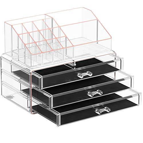 SONGMICSMake-up Organizer,Kosmetik-Organizer mit 3 Schubladenund 15 Fächern in unterschiedlichen Größen,Transparent-RoségoldJKA002T01