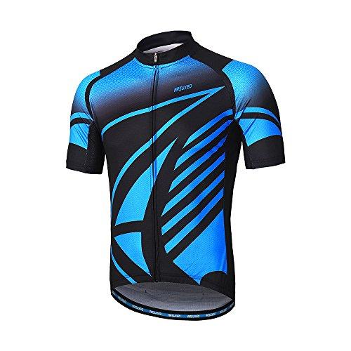Arsuxeo - Maglia da ciclismo a maniche corte da uomo, tasche riflettenti con cerniera, adatta per mountain bike, Uomo, Z843, Large