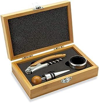 Publiclick Set de Vino en Caja de bambú Que 3 Accesorios, Incluye abridor, Anillo Anti Goteo y un tapón de Acero Inoxidable y bambú.