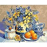 YSNMM Marco Flores Azules Pintura De Bricolaje por Número Arte Moderno De La ParedPintura Acrílica sobre Lienzo Pintura Decoración para El Hogar Artes
