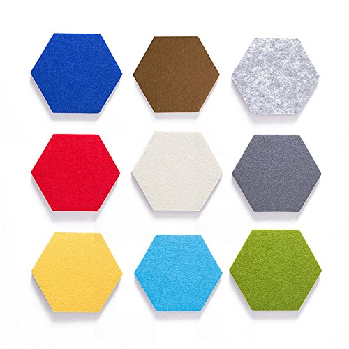 JYCRA Tablero de corcho hexagonal, 9 piezas de colores de fieltro, azulejos de pared, tipo hexagonal, tablero de notas, adhesivo creativo de pared para decoración de la pared del hogar, oficina ✅