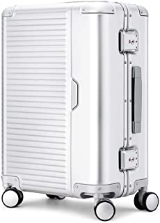 SMLCTY Suitcase 20 inches'' Travel Carry On Hand Cabin Luggage Hard Shell Travel Bag Lightweight,360° Mute 4 Wheel Universal Wheel Customs Code Lock Outdoor Suitcase (Color : Silver)