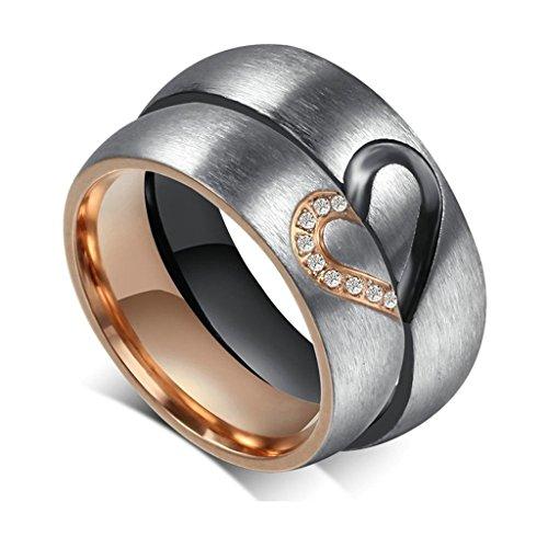 Gnzoe Amour Puzzle Les Femmes Hommes Mariage Engagement Bague ES avec Zircone Cubique 6MM Acier Inoxydable Taille 66.5