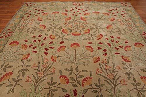 Persian Designs Alfombra y Alfombra de Lana de diseño Antiguo, Hecha a Mano, Color Beige, diseño Tradicional Persa Floral Oriental, 100% Lana, Beige, 5x8(152x244) cm
