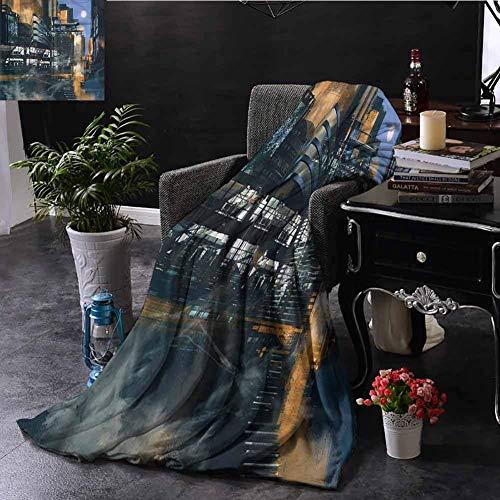 GOIIFLY Microfiber All Season Blanket Futuristic Cyberpunk Cityscape L