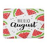 ECNM56B Felpudos Alfombras de baño Felpudo Inscripción de Verano Hola Agosto y sandías en rodajas Cita caligráfica en Vacaciones Blancas 15.8'x23.6'
