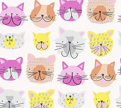 A.S. Création Papiertapete Boys & Girls 6 Tapete mit niedlichen Hunden und Katzen 10,05 m x 0,53 m gelb orange rosa Made in Germany 367542 36754-2