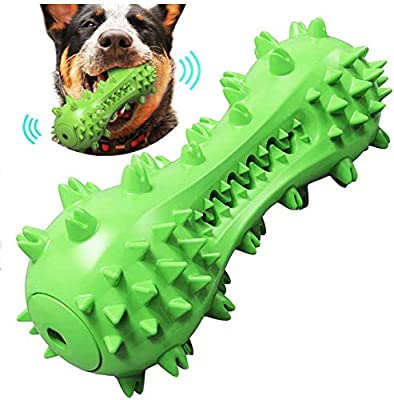 Rosmax Dog Cleaning Stick Chewing Toys, Dog Toys, Squeaky Dog Chewing Toothbrush Toys, Natural Rubber Teeth Care Chewing Cleaning Stick Medium and Large Dogs (Green)