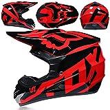 ZYW Motocross Casco + Guantes + Gafas MX Quad ATV Deportes Enduro Anticolisión Casco De ECE 22.05 Certificación,Rojo,L