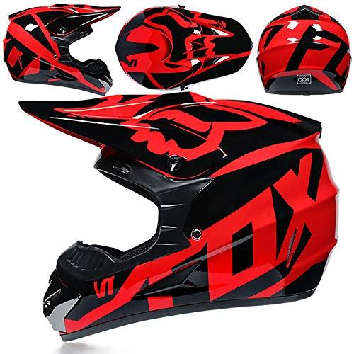 ZYW Motocross Casco + Guantes + Gafas MX Quad ATV Deportes Enduro Anticolisión Casco De ECE 22.05 Certificación,Rojo,M