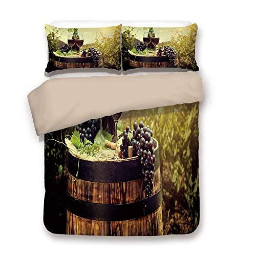 Bettbezug-Set, Wein, landschaftlich reizvolle Toskana-Landschaft mit Fass Paar Gläser und reifen Trauben Wachstum dekorativ, grün schwarz braun, dekorativ 3 Stück Bettwäsche-Set von 2 Pillow Shams Twi