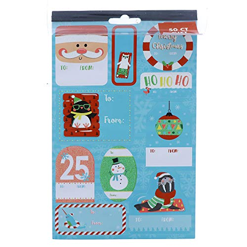 50 Count Gift Labels, Individual Gift Tag Sticker in a Variety of Styles and Christmas Design (Style 1)