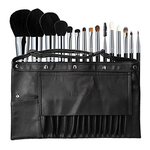 T4B LUSSONI Mu Master Kit Set 16 Pcs Pinceaux De Maquillage Professionel Avec 1 Ceinture En Eco Cuir