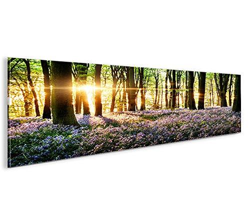 islandburner Bild Bilder auf Leinwand Lavendel im Wald Panorama XXL Poster Leinwandbild Wandbild Dekoartikel Wohnzimmer Marke islandburner