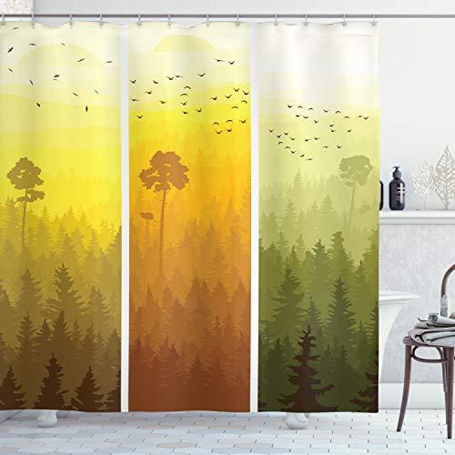 ABAKUHAUS Wald Duschvorhang, Hills Bäume & Vögel, Waserdichter Stoff mit 12 Haken Set Dekorativer Farbfest Bakterie Resistet, 175 x 200 cm, Grün Orange Gelb