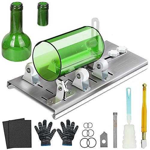 Glass Bottle Cutter, Glass Cutter Tool Kit for Cutting Wine, Beer, Liquor, Whiskey, Alcohol, Champagne, Round and Oval Bottles, DIY kit with Pencil Glass Cutter Gloves Sandpaper for DIY Project Crafts