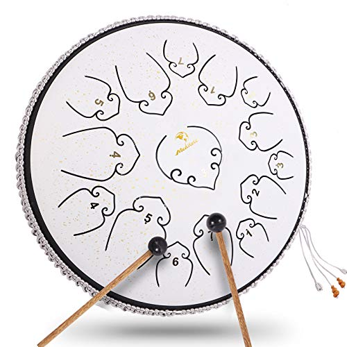 Steel Tongue Drum 14 Inch 15 Note Ultra Wide Range Percussion Instrument Lotus Hand Pan Drum Tank Drum with Rope Decoration and Mallets,Bag, Music script(White)