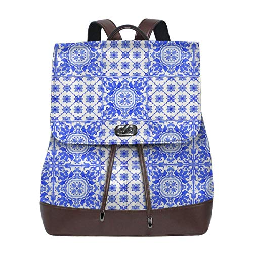 Flyup Portuguese Azulejo Tiles Blue White Womens Leather Backpack Vintage Laptop Backpack Travel Daypack College School Bookbag For Women Girls & Students Mochila de cuero para mujer