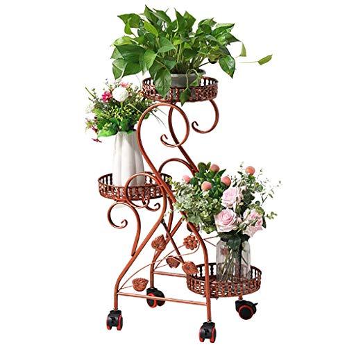 Support de fleur en métal Porte-fleurs, fer à repasser 3 couches Poulie Facile à déplacer Support à plantes 3 couleurs (Couleur : A)