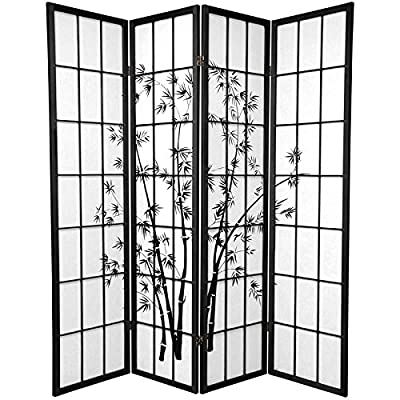 Asian Art Print Folding Screen - 6 ft. Tall Lucky Bamboo Japanese Style Room Divider - White - Choose 3, 4, or 6 Panels