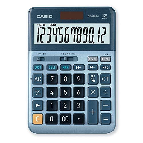 CASIO Tischrechner DF-120EM, 12-stellig, Cost / Sell / Margin, Gesamtsummen-Speicher, Solar-/Batteriebetrieb