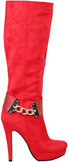 Italina Women's Suede Sexy Knee High Boots with Gold Decorations RED (BD6608)