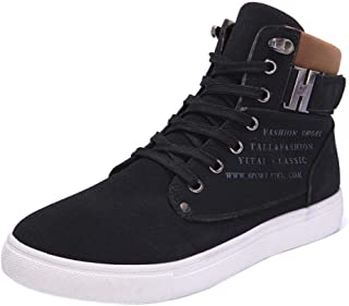 Sunly Fashion Mens Oxfords Casual High Top Shoes Shoes Flat Waterproof Anti-Slip Elastic Band